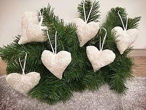Iné doplnky - Šité vianočné ozdoby-srdce - 11184438_