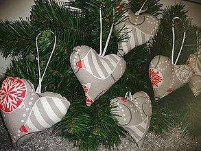 Drobnosti - Šité vianočné ozdoby - srdce - 11184550_