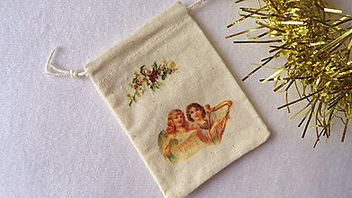 Úžitkový textil - Vianočné Ľanové vrecúško-anjeli - 11181786_