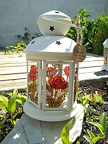 Dekorácie - Maľovaný lampáš divé maky - 11183342_