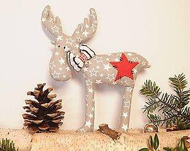 Dekorácie - Vianočný sobík - hviezdičkavý - 11183258_