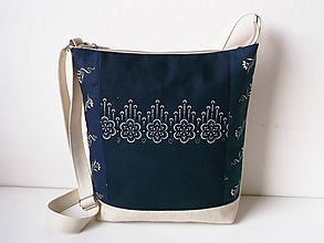 Kabelky - Modrotlač v ľane - 11184690_