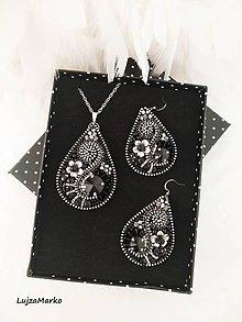 Sady šperkov - Slzy v čiernom...sada v darčekovom balení - 11184222_