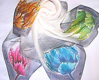 Šatky - Hodvábna šatka 4 kvety - 11181872_