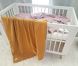 Textil - Veĺká mušelínová osuška Mustard 120x120cm z dvoch vrstiev obojstranna hrubšia - 11185995_