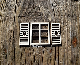 Materiál ručne robený - výrez - okno s okenicami - 11187157_