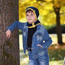 Detské súpravy - Detský set čiapka s nákrčníkom s koženým remienkom - 11186173_