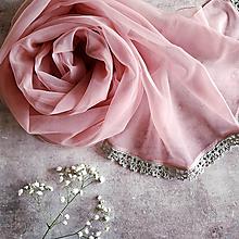 Šály - Popel z růží - vintage šál s čipkou - 11189121_