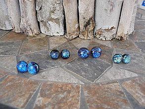 Náušnice - puzetky modré - 11187582_