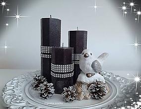 Svietidlá a sviečky - Čierno biele Vianoce - 11187459_