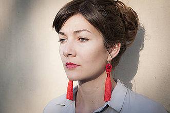 Náušnice - Červené náušnice so strapcom - soutache earring - 11186270_