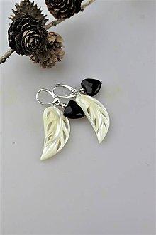 Náušnice - perleť a ónyx náušnice luxusné - 11186890_