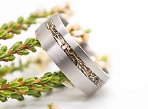 Prstene - Titanový prsteň s bronzom - 11186171_