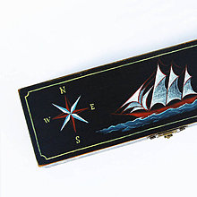 Taštičky - Puzdro s plachetnicou (ručne maľované)  (D33-V6.7-S11cm bez priecinkov) - 11185680_