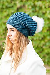 Čiapky - berretto da donna turchese - 11188751_