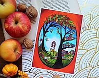 Jeseň s knihami - Reprodukcia mojej autorskej ilustrácie