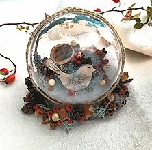 Dekorácie - Vianočná guľa vták väčší priemer - 11187026_