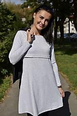 """Tehotenské/Na dojčenie - """"A""""-čkové šaty na dojčenie - Sivá - DLHÝ RUKÁV - 11186330_"""