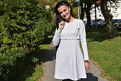 """Tehotenské/Na dojčenie - """"A""""-čkové šaty na dojčenie - Sivá - DLHÝ RUKÁV - 11186331_"""