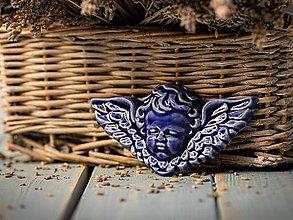 Dekorácie - Reliéfní anděl královská modř - 11185904_