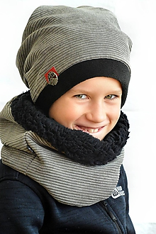 Detské súpravy - Zimná súprava Los európsky khaki& čierna - 11189169_
