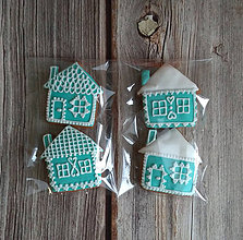 Dekorácie - Perníkový domček vianočný (Tyrkysová) - 11188893_