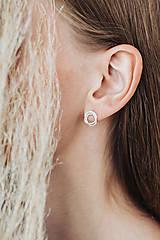Náušnice - Minimalistické stříbrné naušnice Rosa - 11189037_