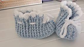Topánočky - Háčkované papučky / capačky (Modrá) - 11188482_