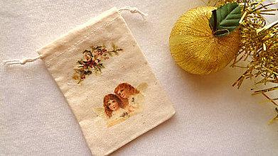 Úžitkový textil - Vianočné Ľanové vrecúško-anjeli - 11187606_