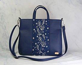 Kabelky - Malvína modrá + modrotlač AM1 - 11187941_
