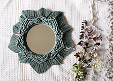 """Zrkadlá - Makramé zrkadlo """"starozelené slniečko"""" - 11190918_"""
