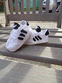 Topánočky - Háčkované Adidasky - 11190723_