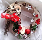Dekorácie - veniec vianočný soví - 11191331_