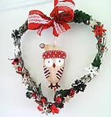 Dekorácie - Vianočné srdiečko soví - 11191372_