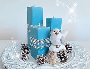 Svietidlá a sviečky - Tyrkysovo strieborné Vianoce - 11190312_