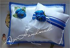 Úžitkový textil - svadobný vankúšik pod obrúčky - 11191853_