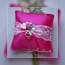 Úžitkový textil - svadobný vankúšik pod obrúčky - 11191759_