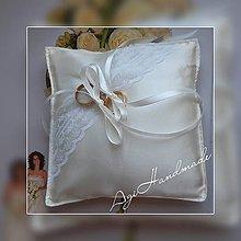 Úžitkový textil - svadobný vankúšik pod obrúčky - 11191768_