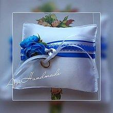 Úžitkový textil - svadobný vankúšik pod obrúčky - 11191851_