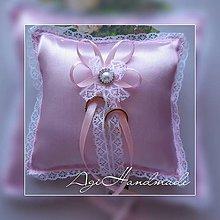 Úžitkový textil - svadobný vankúšik pod obrúčky - 11191862_