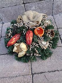 Dekorácie - veniec na hrob s prírodným materiálom 37 cm - 11191446_