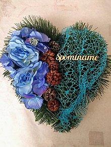 """Dekorácie - Smútočné srdce na dušičky """"modré"""" - 11192525_"""