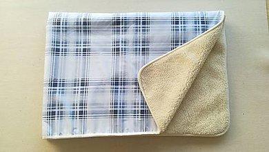 Úžitkový textil - VLNIENKA 100 % Ovčie RUNO BARANČEK Deka vlnená Lux Káro SKY BLUE - 11192295_