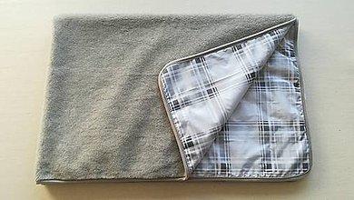 Úžitkový textil - RUNO SHOP Deka/ prikrývka 100% Merino TOP a 100% bavlna LUX KARO GREY 145 x 210 cm - 11192301_