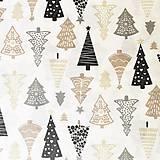 Textil - vianočné stromčeky, zmesová bavlnená dekoračná látka, dovoz Španielsko, šírka 140 cm - 11189822_