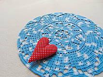 Úžitkový textil - Háčkovaná dečka Modro-biela - 11189613_