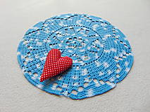 Úžitkový textil - Háčkovaná dečka Modro-biela - 11189619_