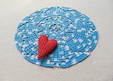 Úžitkový textil - Háčkovaná dečka Modro-biela - 11189620_