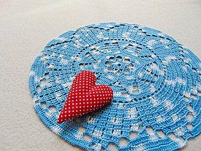 Úžitkový textil - Háčkovaná dečka Modro-biela - 11189617_