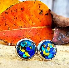 Náušnice - Napichovacie náušnice Bubble zlato-modro tyrkysové - 11189604_